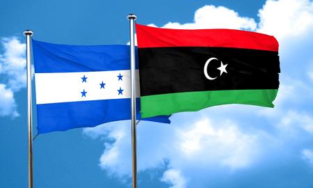 bandera de honduras: bandera de Honduras con la bandera de Libia, 3D