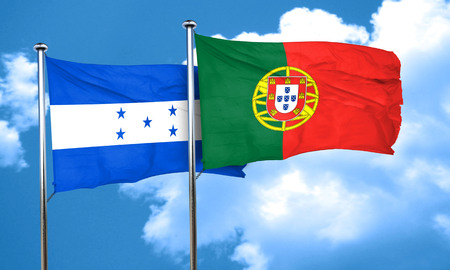 bandera honduras: bandera de Honduras con la bandera de Portugal, 3D