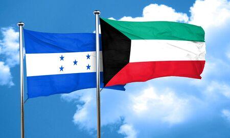 bandera de honduras: bandera de Honduras con la bandera de Kuwait, 3D Foto de archivo