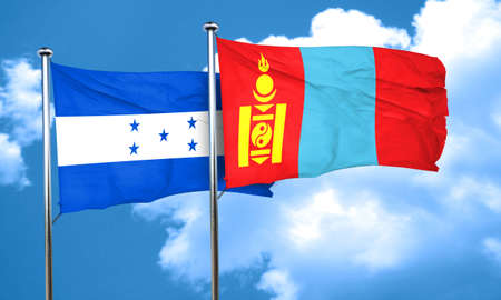 bandera honduras: bandera de Honduras con la bandera de Mongolia, 3D Foto de archivo