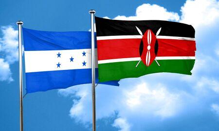 bandera honduras: bandera de Honduras con la bandera de Kenia, 3D