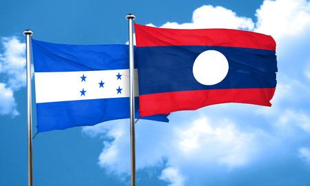 bandera honduras: bandera de Honduras con la bandera de Laos, 3D
