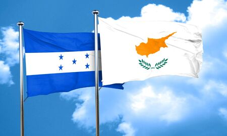 bandera honduras: bandera de Honduras con la bandera de Chipre, 3D