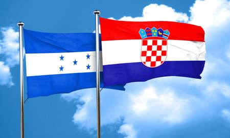 bandera de croacia: bandera de Honduras con la bandera de Croacia, 3D