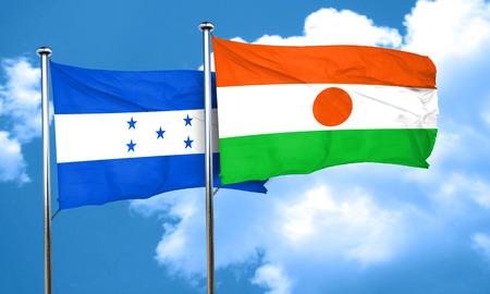 bandera honduras: bandera de Honduras con la bandera de Niger, 3D
