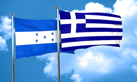greece flag: Honduras flag with Greece flag, 3D rendering Stock Photo