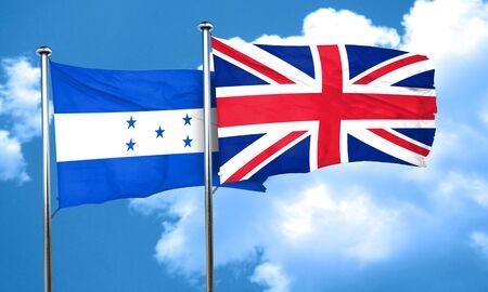 bandera honduras: bandera de Honduras con la bandera de Gran Bretaña, 3D