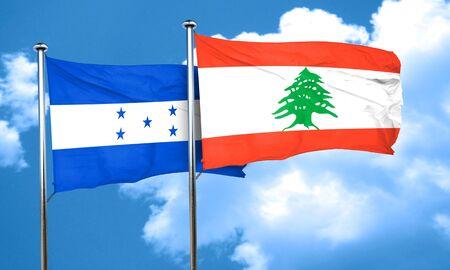 bandera honduras: bandera de Honduras con la bandera de Líbano, representación 3D Foto de archivo