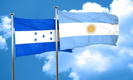 bandera honduras: bandera de Honduras con la bandera argentina, 3D