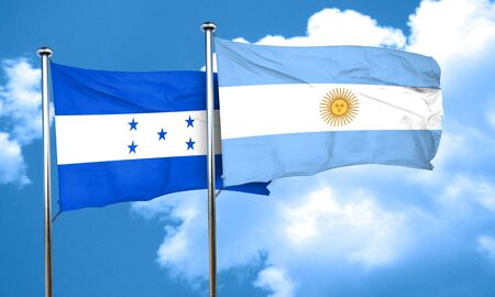 argentine: Honduras flag with Argentine flag, 3D rendering