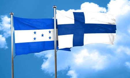 bandera honduras: Honduras flag with Finland flag, 3D rendering