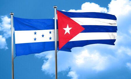 bandera honduras: bandera de Honduras con la bandera de Cuba, 3D