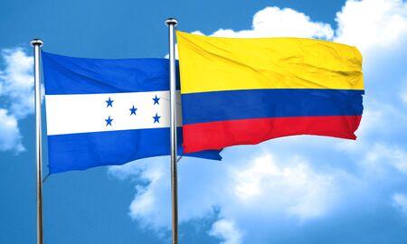 bandera de honduras: bandera de Honduras con la bandera de Colombia, 3D