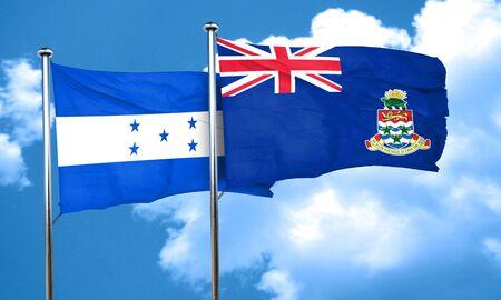 cayman: Honduras flag with Cayman islands flag, 3D rendering Stock Photo