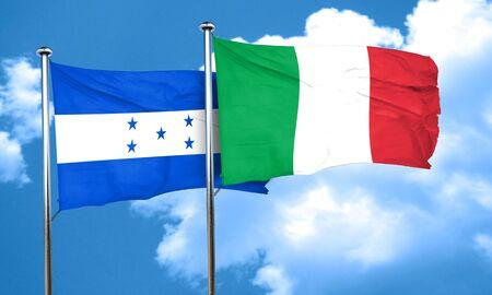 bandera honduras: bandera de Honduras con la bandera de Italia, 3D