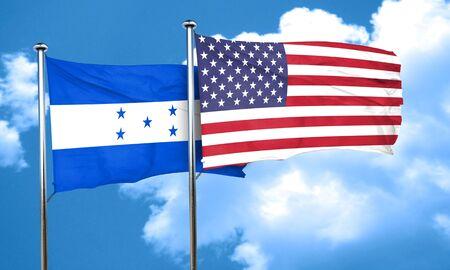 bandera de honduras: bandera de Honduras con la bandera americana, 3D Foto de archivo