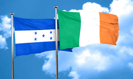 bandera honduras: bandera de Honduras con la bandera de Irlanda, 3D