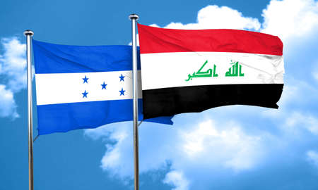 iraq flag: Honduras flag with Iraq flag, 3D rendering