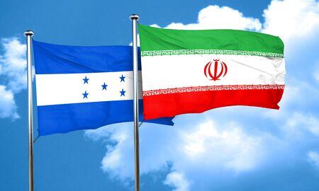 bandera honduras: bandera de Honduras con la bandera de Irán, 3D Foto de archivo