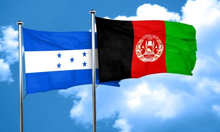 afghan: Honduras flag with afghanistan flag, 3D rendering