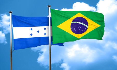 bandera honduras: bandera de Honduras con la bandera de Brasil, 3D Foto de archivo