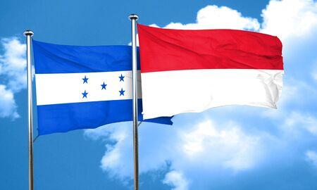 bandera honduras: bandera de Honduras con la bandera de Indonesia, 3D