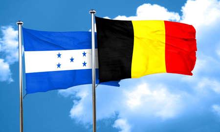 bandera honduras: bandera de Honduras con la bandera de Bélgica, 3D