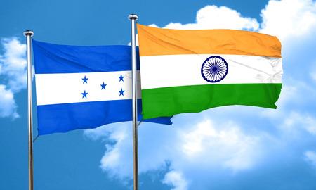 bandera honduras: bandera de Honduras con la bandera de la India, 3D