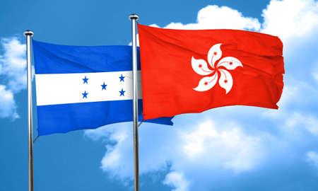 bandera honduras: bandera de Honduras con la bandera de Hong Kong, 3D