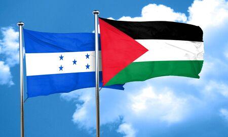 honduras: Honduras flag with Palestine flag, 3D rendering