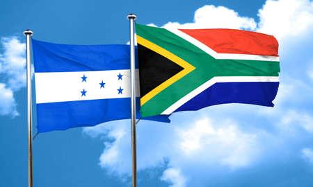 bandera de honduras: Honduras flag with South Africa flag, 3D rendering