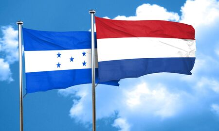 bandera honduras: bandera de Honduras con la bandera de Países Bajos, 3D