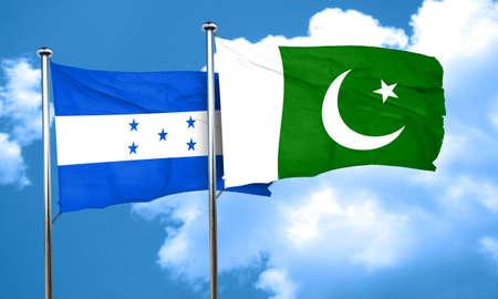 bandera honduras: bandera de Honduras con la bandera de Pakistán, 3D