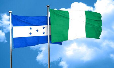 bandera de honduras: bandera de Honduras con la bandera de Nigeria, 3D