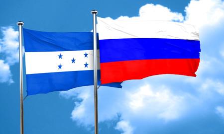 bandera honduras: bandera de Honduras con la bandera de Rusia, 3D