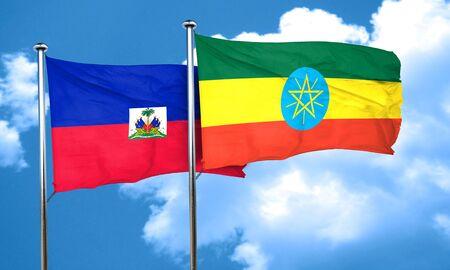 haiti: Haiti flag with Ethiopia flag, 3D rendering