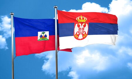 haiti: Haiti flag with Serbia flag, 3D rendering Stock Photo