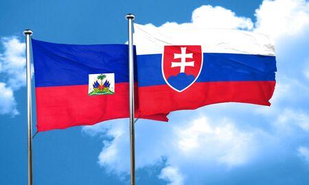 slovakia flag: Haiti flag with Slovakia flag, 3D rendering