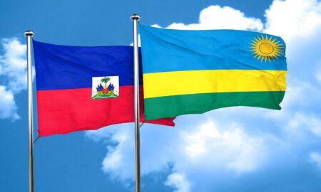 haiti: Haiti flag with rwanda flag, 3D rendering