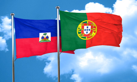 portugese: Haiti flag with Portugal flag, 3D rendering