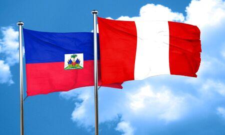 bandera de peru: bandera de Hait� con la bandera de Per�, 3D Foto de archivo