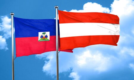 austria flag: Haiti flag with Austria flag, 3D rendering