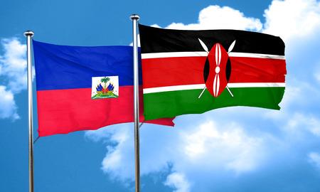 haiti: Haiti flag with Kenya flag, 3D rendering