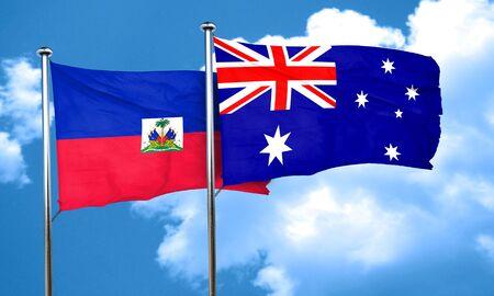 australia flag: Haiti flag with Australia flag, 3D rendering