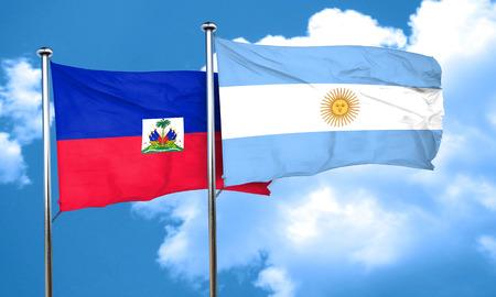 argentine: Haiti flag with Argentine flag, 3D rendering