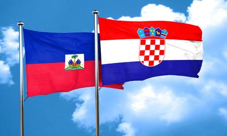 haiti: Haiti flag with Croatia flag, 3D rendering