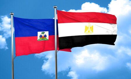 haiti: Haiti flag with egypt flag, 3D rendering Stock Photo