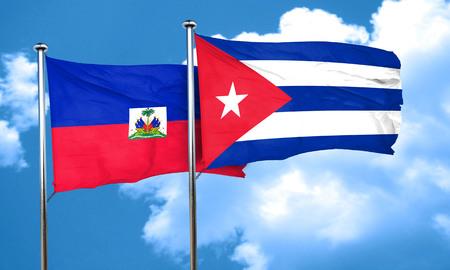 cuba flag: Haiti flag with cuba flag, 3D rendering
