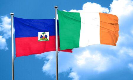 haiti: Haiti flag with Ireland flag, 3D rendering Stock Photo