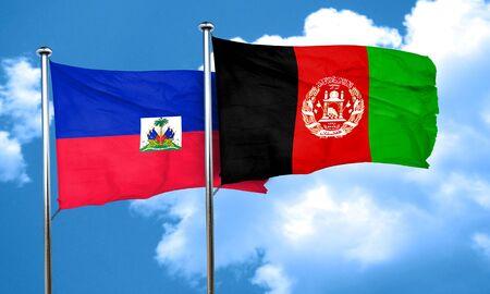 Haiti flag with afghanistan flag, 3D rendering